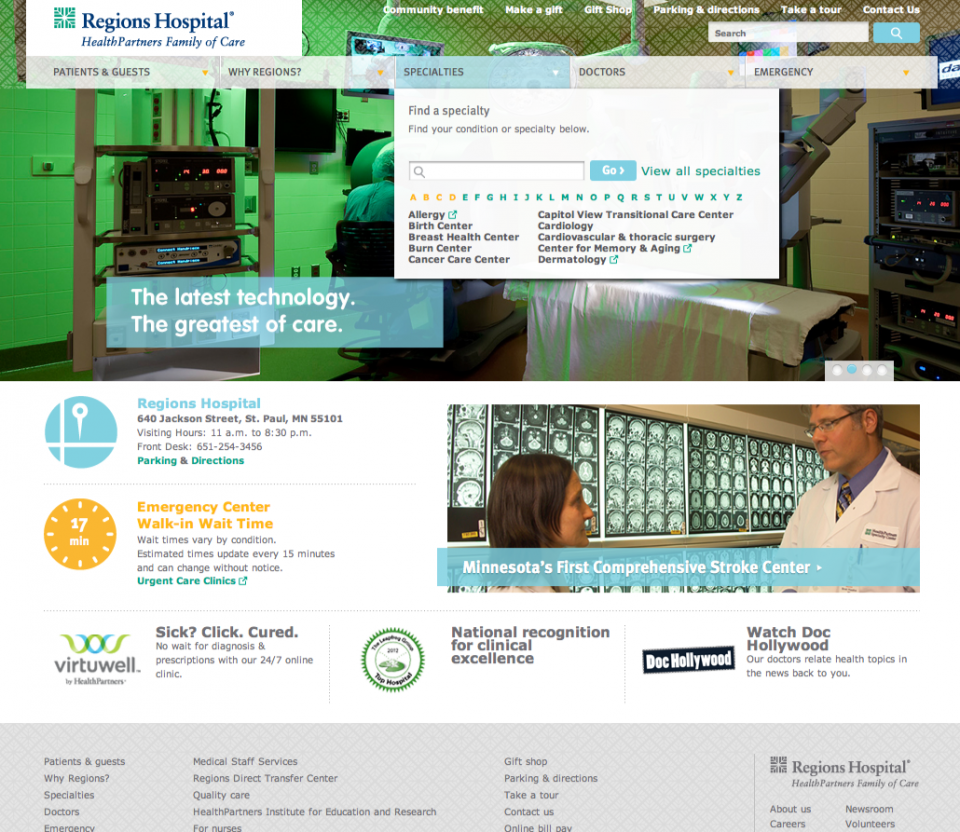 Regions Hospital Find a Doctor Quick Search