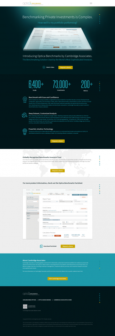 Optica Benchmarks Campaign Landing Page