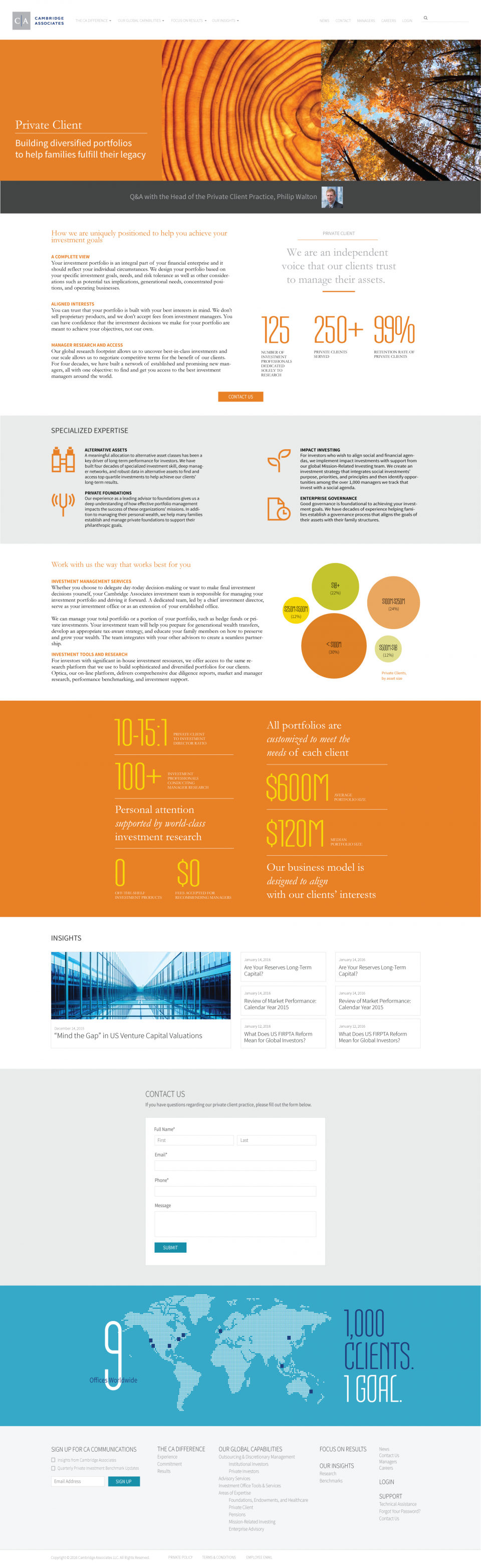 Cambridge Associates Private Client Landing Page
